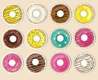 Wektorowa kolekcja, set donuts majchery Realistyczni oszkleni donuts ilustracji