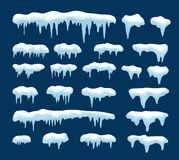 Wektorowa kolekcja sople i śnieg ilustracji