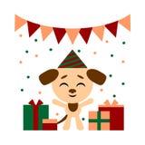 Wektorowa kolor ilustracja ładna psia kreskówka z prezentów pudełkami na białym tle Mieszkanie stylu projekt dla sieci, miejsce ilustracji