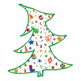 Wektorowa kolorowa choinka dekoruje z światłami, gwiazdami, łękami, płatek śniegu i skarpetami, ilustracja wektor