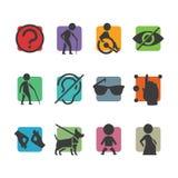 Wektorowa kolorowa ikona ustawiająca dostęp podpisuje dla niepełnosprawni fizycznie Obrazy Stock