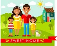 Wektorowa kolorowa ilustracja afrykanin, amerykańska rodzina i dom w mieszkaniu, projektujemy Obrazy Stock