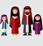 Wektorowa kolorowa ilustracja arabska rodzina w obywatelu odziewa Obrazy Royalty Free