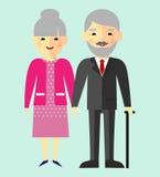 Wektorowa kolorowa ilustracja azjata, chińczyk, japońska stara emeryt rodzina ilustracja wektor