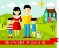 Wektorowa kolorowa ilustracja azjatykcia rodzina i dom w mieszkaniu projektujemy Zdjęcia Royalty Free