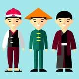 Wektorowa kolorowa ilustracja azjatykcie chłopiec w obywatelu odziewa Obraz Royalty Free
