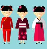 Wektorowa kolorowa ilustracja azjatykcie dziewczyny w obywatelu odziewa ilustracji