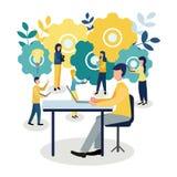 Wektorowa kolorowa ilustracja komunikacja nad internetem, ogólnospołeczne sieci, gadka, wideo, wiadomość, wiadomości, strona inte ilustracji