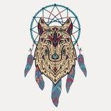 Wektorowa kolorowa ilustracja plemienny stylowy wilk z etnicznymi ornamentami i wymarzonym łapaczem Fotografia Royalty Free
