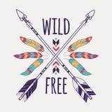 Wektorowa kolorowa ilustracja z krzyżować etnicznymi strzała, piórkami i plemiennym ornamentem, Zdjęcie Royalty Free
