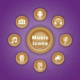 Wektorowa kolorowa ilustracja z muzycznymi ikonami Ilustracji