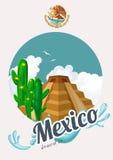 Wektorowa kolorowa karta z ostrosłupem o Meksyk Podróż Meksyk mexico viva Podróż plakat z meksykańskimi rzeczami Obrazy Royalty Free