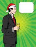Wektorowa kolorowa komiczka stylu ilustracja przystojny mężczyzna pije szampana przy Bożenarodzeniowym korporacyjnym przyjęciem Obrazy Royalty Free