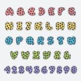 Wektorowa kolorowa kropkowana chrzcielnica i liczby Obrazy Stock