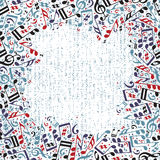 Wektorowa kolorowa otoczka z jaskrawymi muzykalnymi notatkami na białym backg Zdjęcia Stock