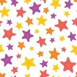 Wektorowa Kolorowa rozgwiazda na Białym Bezszwowym Deseniowym tle ilustracji