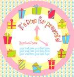 Wektorowa kolorowa urodzinowa karta z prezentów pudełkami wewnątrz ilustracja wektor