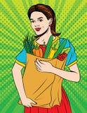 Wektorowa kolorowa wystrzał sztuki stylu ilustracja młoda piękna kobieta z pełną papierową torbą zdrowia jedzenie ilustracji
