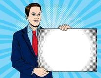 Wektorowa kolorowa wystrzał sztuki stylu ilustracja młody biznesmen pokazuje dużą biel kartę Obrazy Royalty Free