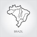 Wektorowa kontur mapa Brazylia Kontur ramowa ikona Kartografia symbol południowy kraj ilustracja wektor