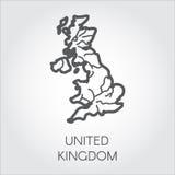 Wektorowa kontur mapa Zjednoczone Królestwo Wielka Brytania kształta liniowa ikona Kartografia symbol kraj ilustracja wektor