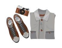 Wektorowa koszula, buty i rocznik kamera royalty ilustracja