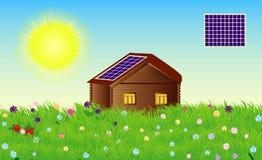 Wektorowa kraj chałupa z panel słoneczny w letnim dniu royalty ilustracja