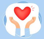 Wektorowa kreatywnie kolor ilustracja trzyma czerwień h ludzka ręka zdjęcie royalty free