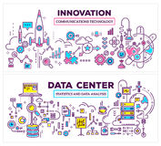 Wektorowa kreatywnie pojęcie ilustracja dane centrum i innovati obrazy royalty free