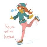 Wektorowa kreskówki dziewczyna na łyżwach Zdjęcia Stock