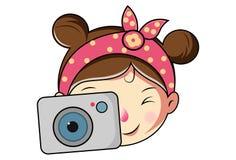 Wektorowa kreskówki ilustracja Śliczna dziewczyny twarz fotografia royalty free