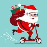 Wektorowa kreskówki ilustracja śliczna szczęśliwa Święty Mikołaj jazda dalej Fotografia Stock