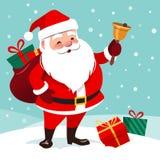 Wektorowa kreskówki ilustracja życzliwy uśmiechnięty Święty Mikołaj Rin ilustracja wektor