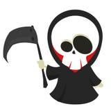 Wektorowa kreskówki ilustracja Halloweenowa śmierć z kosą, ponura żniwiarka odizolowywająca royalty ilustracja