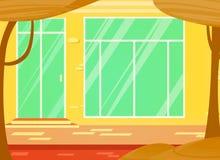 Wektorowa kreskówki ilustracja nadokienny sklep i drzwi miastowy krajobraz zdjęcie royalty free