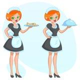 Wektorowa kreskówki ilustracja - Piękna śliczna śmieszna dziewczyny kelnerki gosposia przynosi rozkaz gazetę ilustracji