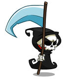 Wektorowa kreskówki ilustracja straszna Halloweenowa śmierć z kosą, zredukowana charakter maskotka odizolowywająca na białym tle royalty ilustracja
