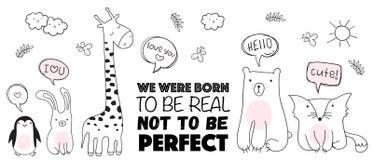 Wektorowa kreskówki nakreślenia ilustracja z ślicznymi doodle zwierzętami obrazy royalty free
