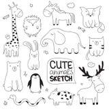 Wektorowa kreskówki nakreślenia ilustracja z ślicznymi doodle zwierzętami obrazy stock