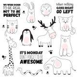 Wektorowa kreskówki nakreślenia ilustracja z ślicznymi doodle zwierzętami fotografia royalty free