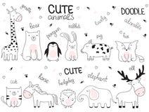 Wektorowa kreskówki nakreślenia ilustracja z ślicznymi doodle zwierzętami obraz stock