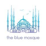 Wektorowa kreskowa ilustracja Błękitny meczet w Istanbuł, Turcja Obraz Stock