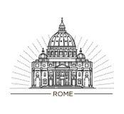Wektorowa kreskowa ilustracja St Peter ` s bazylika, Rzym, Włochy ilustracji