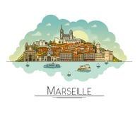 Wektorowa kreskowa sztuka Marseille, Francja, podróż punkty zwrotni i architektury ikona, Popularni turystyczni miejsca przeznacz ilustracja wektor