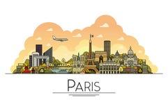 Wektorowa kreskowa sztuka Paryż, Francja, podróż punkty zwrotni i architektury ikona, Popularni turystyczni miejsca przeznaczenia ilustracji