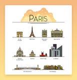 Wektorowa kreskowa sztuka Paryż, Francja, podróż punkty zwrotni i architektury ikony set, Popularni turystyczni miejsca przeznacz ilustracja wektor