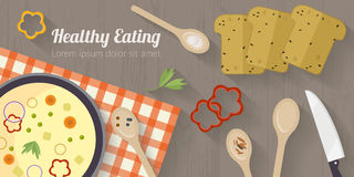 Wektorowa kulinarnego czasu ilustracja z płaskimi ikonami Świeża żywność i materiały na kuchennym stole w mieszkaniu projektujemy Obraz Stock