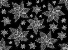 Wektorowa kwiecista bezszwowa tekstura z kwiatami z koronkowymi płatkami ilustracji