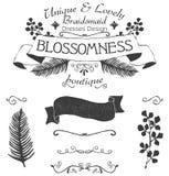 Wektorowa kwiecista logo etykietka z teksturą, oddzielnymi kwiecistymi gałąź i liście Obraz Royalty Free