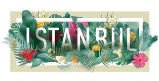 Wektorowa kwiecista obramiająca typograficzna ISTANBUŁ miasta grafika Fotografia Royalty Free